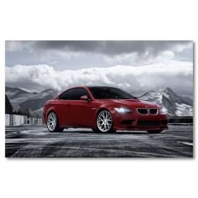 Αφίσα (BMW, κόκκινος, πλευρά, στάθμευση, μαύρο, λευκό, άσπρο)
